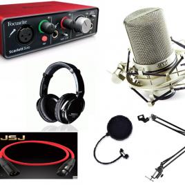 Combo Focusrite Scarlett 2i2, micro MXL 990, tai nghe Takstar HD 2000 và phụ kiện